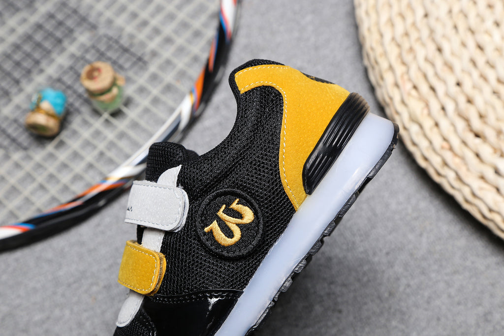 STICKER SNEAKER. First Ever Kids Alphabet Shoes, Black/Yellow/Gray