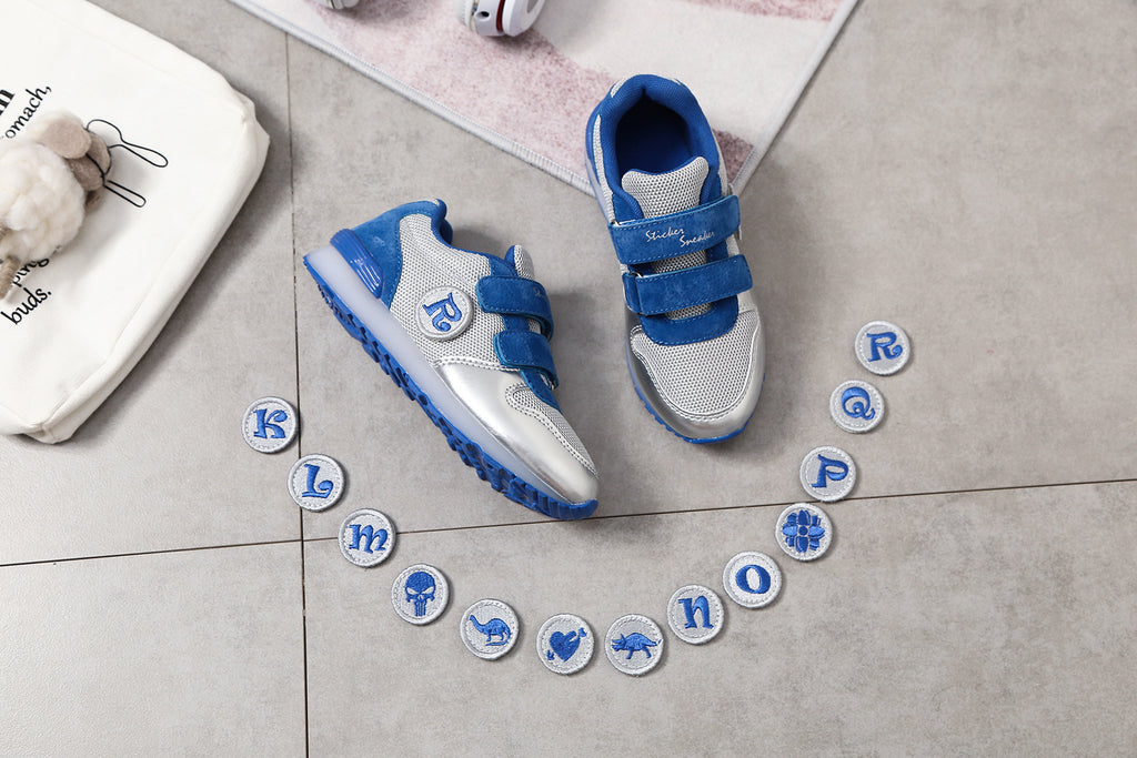 STICKER SNEAKER. First Ever Kids Alphabet Shoes, Silver/Blue