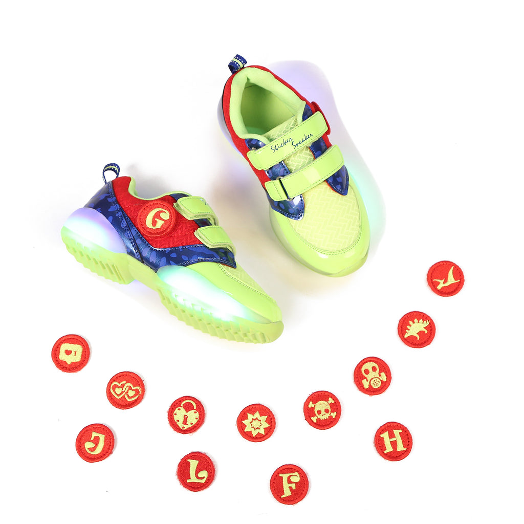 STICKER SNEAKER. First Ever Kids Alphabet Shoes, Lime/Red/Blue