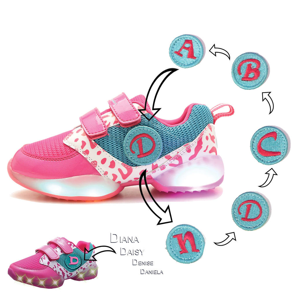 STICKER SNEAKER. First Ever Kids Alphabet Shoes, Pink/Green/White