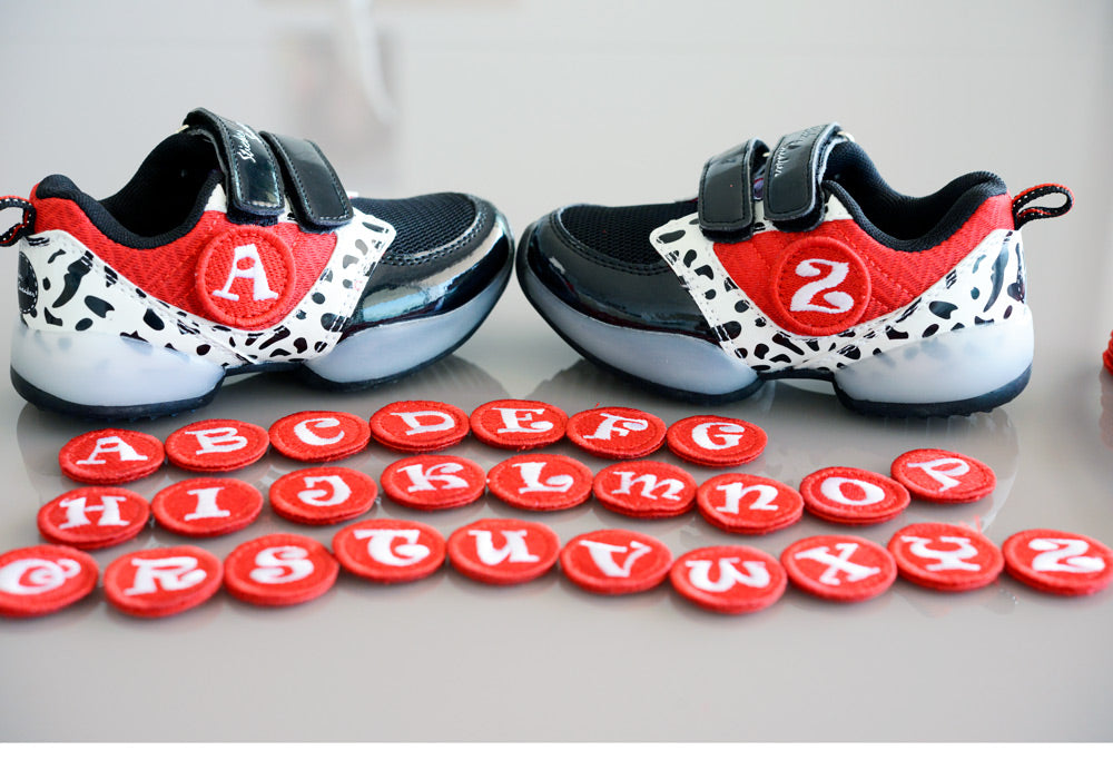 TutorShoes. Sticker Sneaker, Black/Red/White
