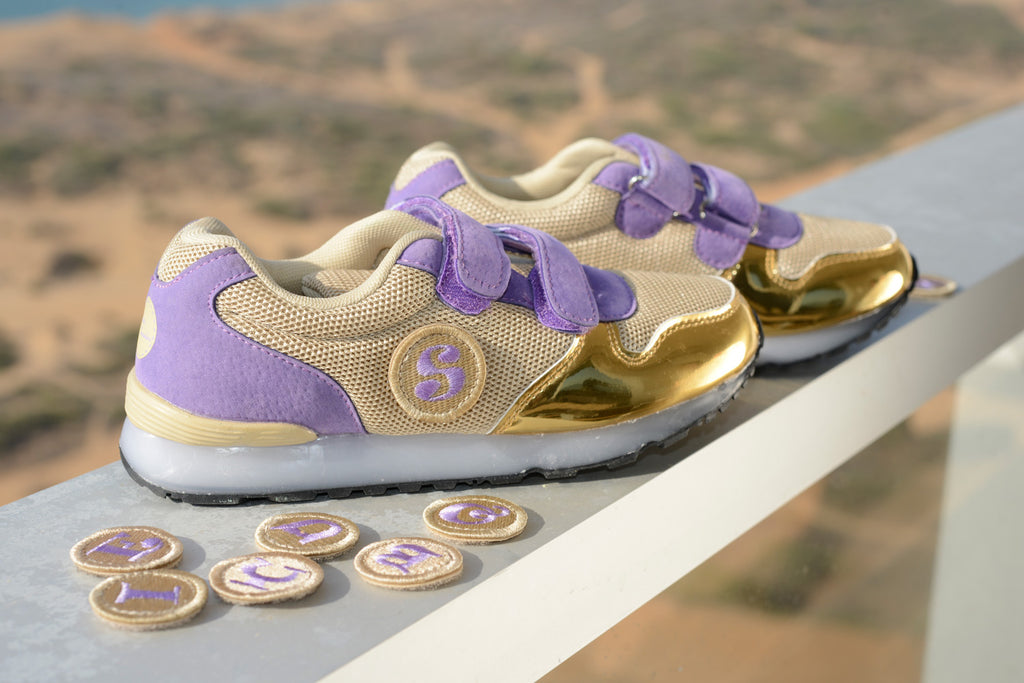 STICKER SNEAKER. First Ever Kids Alphabet Shoes, Gold/Lavender