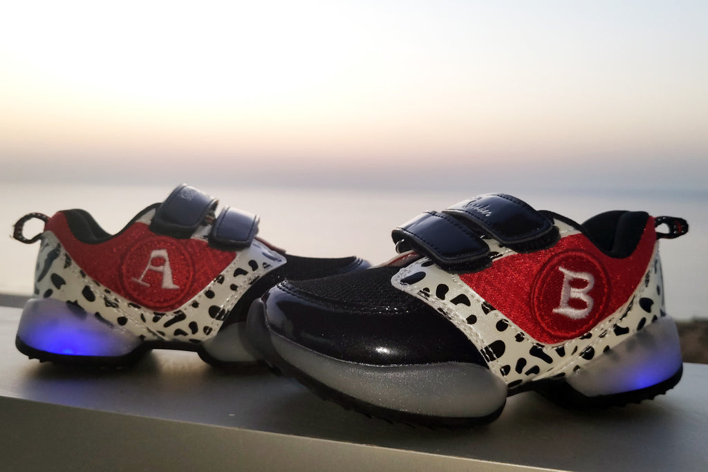 STICKER SNEAKER. First Ever Kids Alphabet Shoes, Black/Red/White
