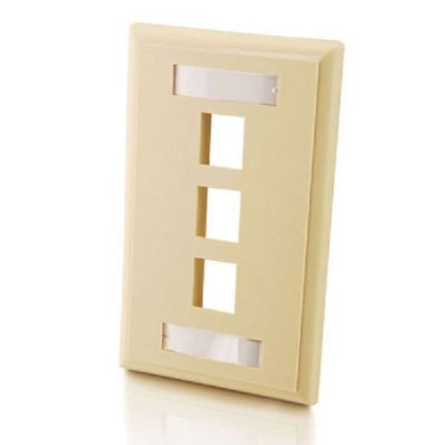 C2G 03712 3-Port Keystone Single Gang Wall Plate, Ivory