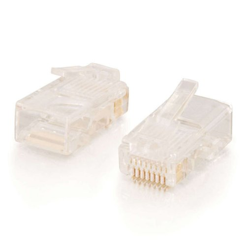 C2G 11380 RJ45 Cat5e Modular Plug for Round Stranded Cable Multipack (50 Pack) TAA Compliant, Clear