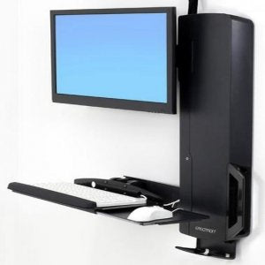 Ergotron StyleView Sit-Stand Vertical Lift, High Traffic Area - Wall Mount for LCD Display/Keyboard / Mouse - Black - Screen Size: 24