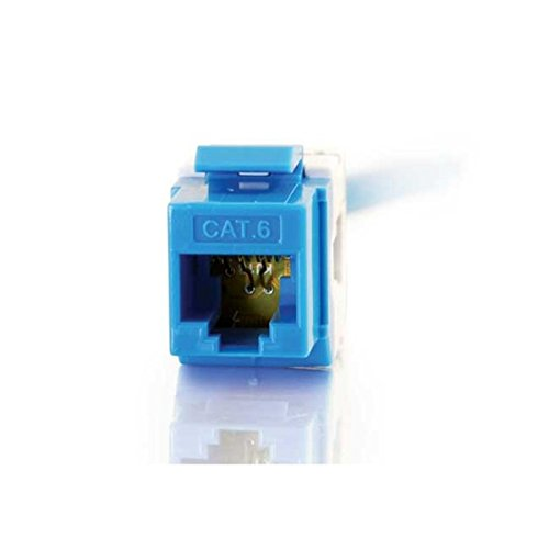 C2G 35211 Cat6 180° RJ45 Unshielded Keystone Jack, Blue