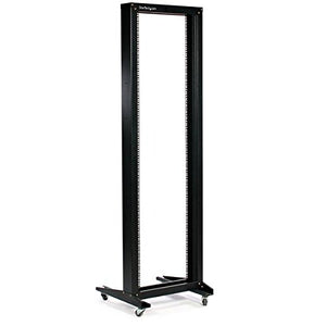 StarTech.com 2POSTRACK 42U 2 Post Open Frame Rack with Casters (Black)