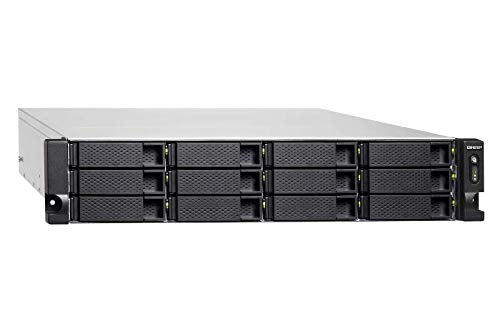 QNAP TVS-1272XU-RP-i3-4G-US 12 Bay Rackmount NAS with Redundant Power Supply and 8th Gen Intel Core i3 Processor. 4GB RAM. Built-in Mellanox ConnectX-4 Lx 10GbE Controller. iSER Supported.