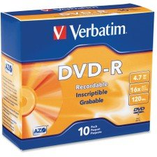 Verbatim AZO DVD-R 4.7GB 16X Branded 10-Pack Slim Jewel Case