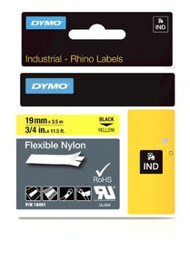 19mm 3/4in Tapes Yellow Flexible Nylon-Rhinopro Indust PRNT