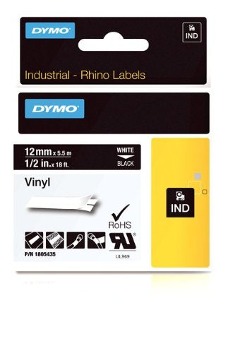 Dymo Rhino Tape Vinyl Label Cassette, 1/2-Inch12mm, Black (1805435)