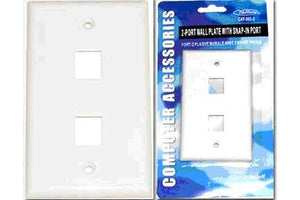 Pack of 12 White 2 Port Wall Plate w/Snap in Port