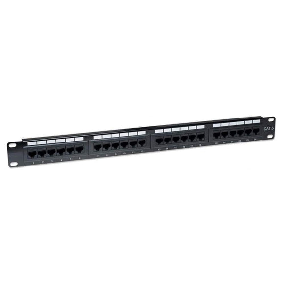 Techly I-PP 24-RU-C6 24 Port Cat6 Patch Panel, 1U, Black
