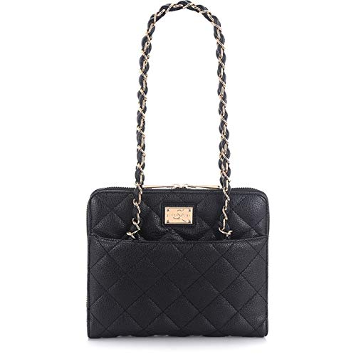Sandy Lisa St. Tropez Quilted Purse, Carrying Bag for Tablet, Black/Gold