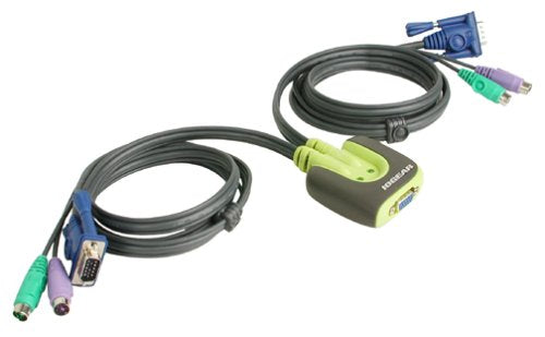 IOGEAR 2-Port MiniView Micro PS/2 KVM Switch with 2 Cables GCS62
