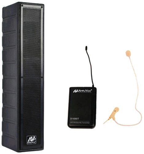 Amplivox SW1234 16-Channel 50W Line Array Amplified Speaker with Wireless Microphone