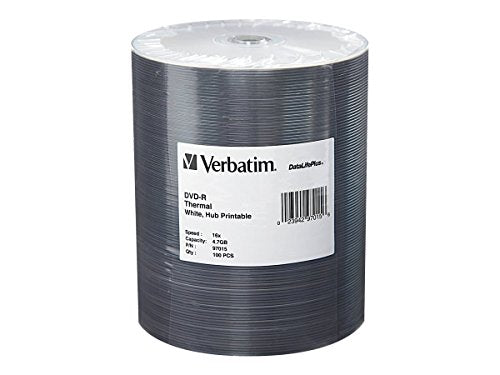 Verbatim 4.7GB up to 16x DataLifePlus White Thermal Hub Printable Recordable Disc DVD-R (100-Disc Spindle Tape Wrap) 97015