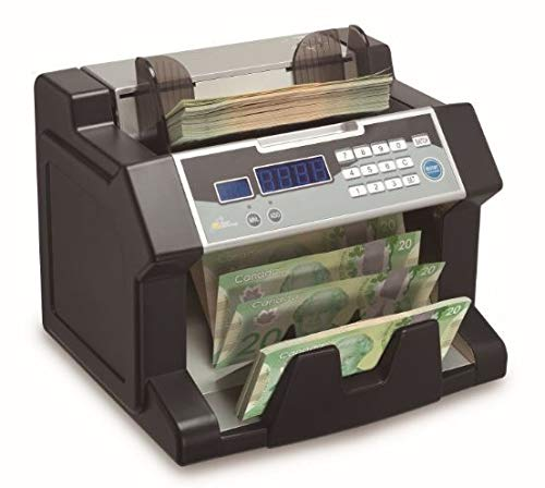 Royal Sovereign Electric Bill Counter | Back-Loading System Counts Both Paper & New Polymer Canadian Bank Notes | 300 Bill Capacity & 1200 Bills Per Minute (RBC-3200-CA)