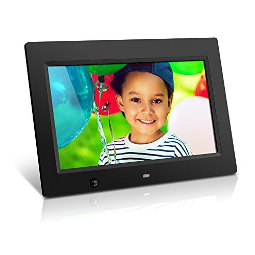 Aluratek Digital Photo Frame with Energy Efficient Motion Sensor 4GB Built in Memory Black