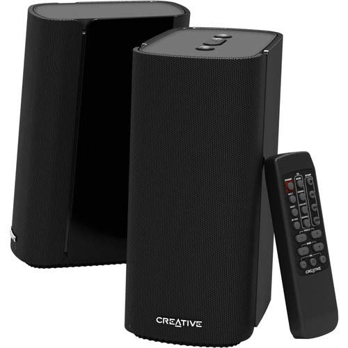 Creative T100 2.0 Compact Hi-Fi Desktop Speakers, up to 80W Peak Power with Bluetooth 5.0, Optical-in, AUX-in, Wide Soundstage and Audio Clarity with Bass Control for Computers and Laptops (Black)