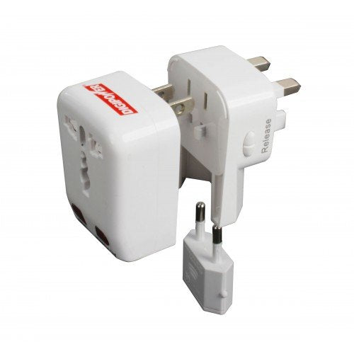 Cellular Innovations ACP-WTA World Travel Adapter with Built-in USB Charger, White