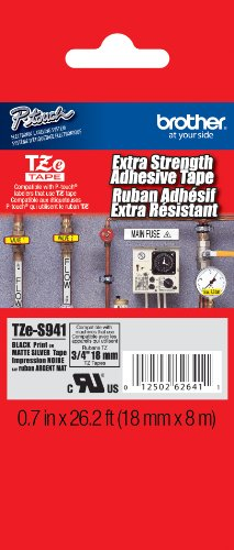 Brother TZeS941 Laminated Black on Matte Silver Extra-Strength Tape, 3/4-Inch, Retail Packaging