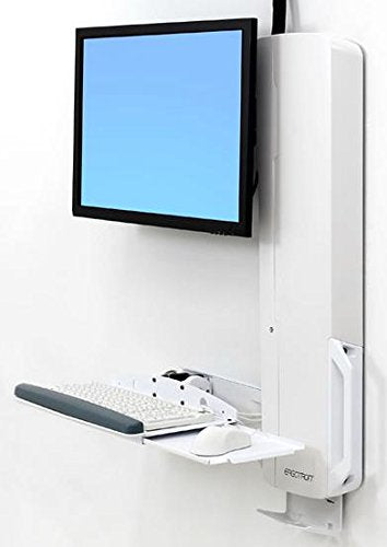 Ergotron StyleView Sit-Stand Vertical Lift, High Traffic Area - Wall Mount for LCD Display/Keyboard / Mouse - White - Screen Size: 24