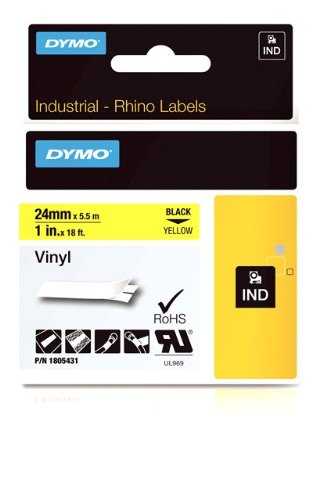 Dymo Rhino 1IN Vinyl Label Cassette 24mm, Yellow (1805431)