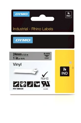 Dymo Rhino Tape Vinyl Label Cassette, 1-Inch 24mm, Gray (1805425)