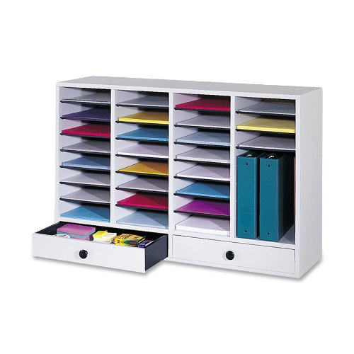 Safco Products 9494GR Wood Adjustable Literature Organizer, 32 Compartment with Drawers, Gray