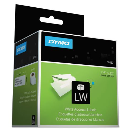 DYMO LW Mailing Address Labels for LabelWriter Label Printers, White, 1-1/8'' x 3-1/2'', 2 rolls of 350 (30252)