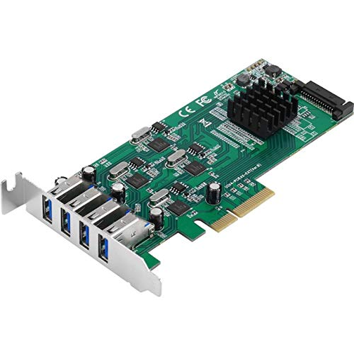 SIIG 4-Port SuperSpeed USB 3.0 PCI Express (PCIe Card) - Quad Core, Four USB 3.0 Ports with 5Gbps (JU-P40811-S1)
