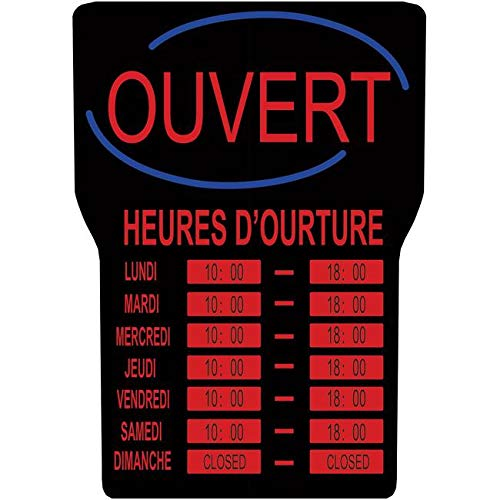 Royal Sovereign RSB-1342F LED Open Sign With Business Hours French - Black