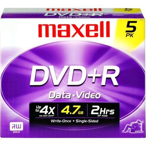 Maxell 634032 DVD+R 4.7GB DVD Recordable Disc, 5-Pack