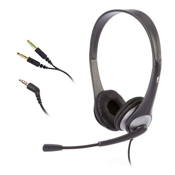 Cyber Acoustics Stereo Headset and Boom Mic with PC Y-Adapter (AC-204)