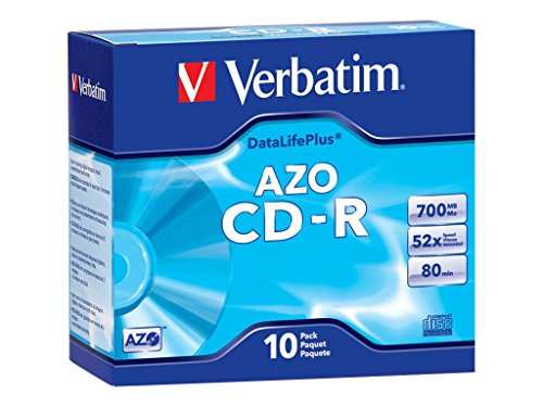 Verbatim 700MB 52x DataLifePlus Branded Recordable Disc CD-R, 10-Disc Slim Case 94760
