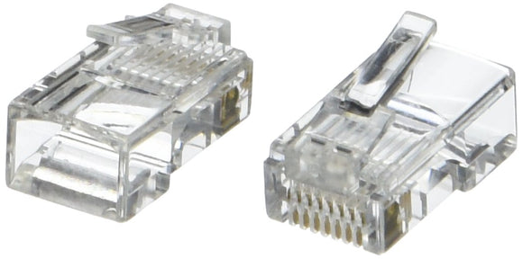 C2G 11381 RJ45 Cat5e Modular Plug for Round Stranded Cable Multipack (100 Pack) TAA Compliant, Clear