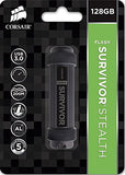 Corsair Flash Survivor Stealth 128GB USB 3.0 Flash Drive (CMFSS3B-128GB), Black