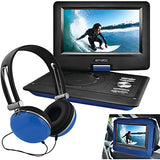 "Ematic 10"" Portable DVD Player Swivel Screen with Matching Headphones & Car Headrest Mount (Black)"