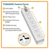 Tripp Lite Home & Office Power Strip with 5-15P Plug, Light Gray