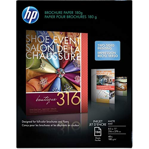 HP - Inkjet Brochure/Flyer Paper, 103 Brightness, 48lb, 8-1/2 x 11, White, 150/Pack - Sold As 1 Pack - High Performance Coating on Both Sides for Two-Sided Printing with Exceptional Image Quality.