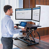 "FlexiSpot Motorized Standing Desk - 36"" Wide Electric Stand up Desk Computer Riser with Quick Release Keyboard Tray EM7"