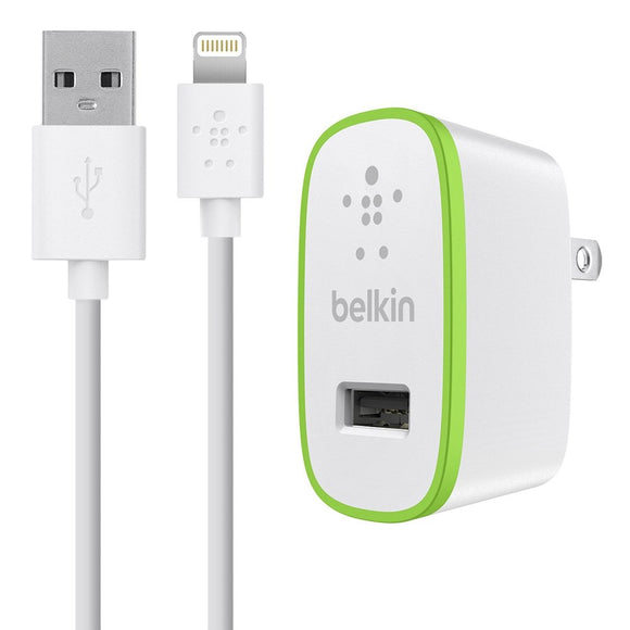 Belkin F8J052tt04-WHT MIXIT Home Charger with Lightning Cable for iPhone 6/6 Plus, iPhone SE, iPhone 5/5S/5c, iPad 4th Gen, iPad Air 2, iPad Air, iPad Mini 3, iPad Mini 2 and iPad Mini (2.1 Amp/10 Watt), White