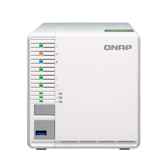 QNAP TS-332X 3-Bay 64-bit NAS with Built-in 10G Network. Quad Core 1.7GHz, 2GB RAM, 1 X 10GbE (SFP+), 2 X 1GbE, 3 X 3.5/2.5