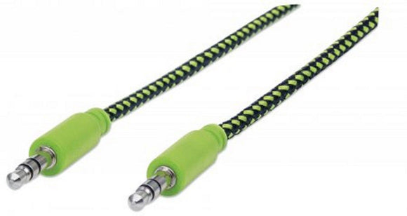 MANHATTAN Audio Blade (Braid) Cable 3.5 Mm Stereo (Male) - (Male) Black/Green 1.8 M (6 Ft.) 394147