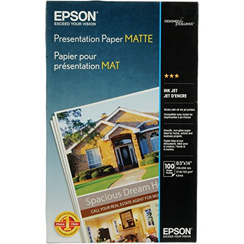 Epson S041067 Presentation Paper Matte, Legal Size, 100 Sheets Ink