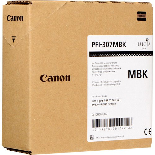 Canon 330ml PFI-307 Pigment Matte Black Ink Tank for iPF830, iPF840, iPF850 CAD Plotters