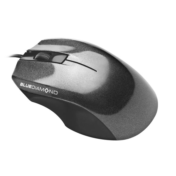 BlueDiamond Track Basic Optical Mouse - Wired USB ambidextrous mouse 1000DPI - Easy Plug and use - Extended 4.1-feet cord - For Desktop PC Laptop Computer Notebook