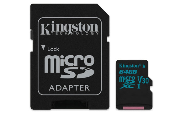 Kingston 64GB microSDXC Canvas Go 90R/45W U3 UHS-I V30 Card + SD Adptr